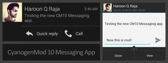 CyanogenMod 10 Messaging App