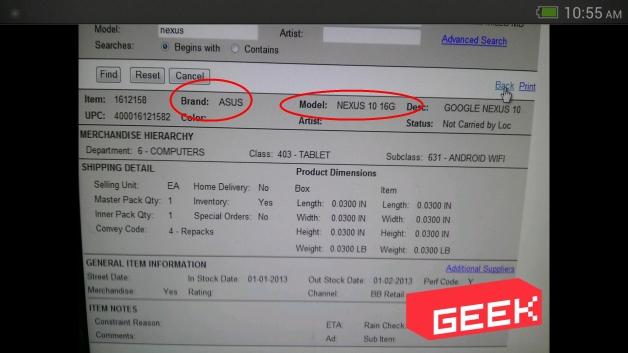 Производителем Nexus 10 будет ASUS