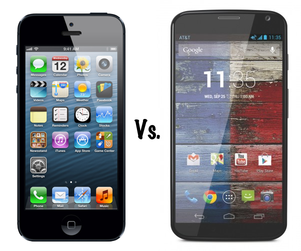 Moto X vs iPhone 5 - новый девайс от Motorola против яблочного смартфона