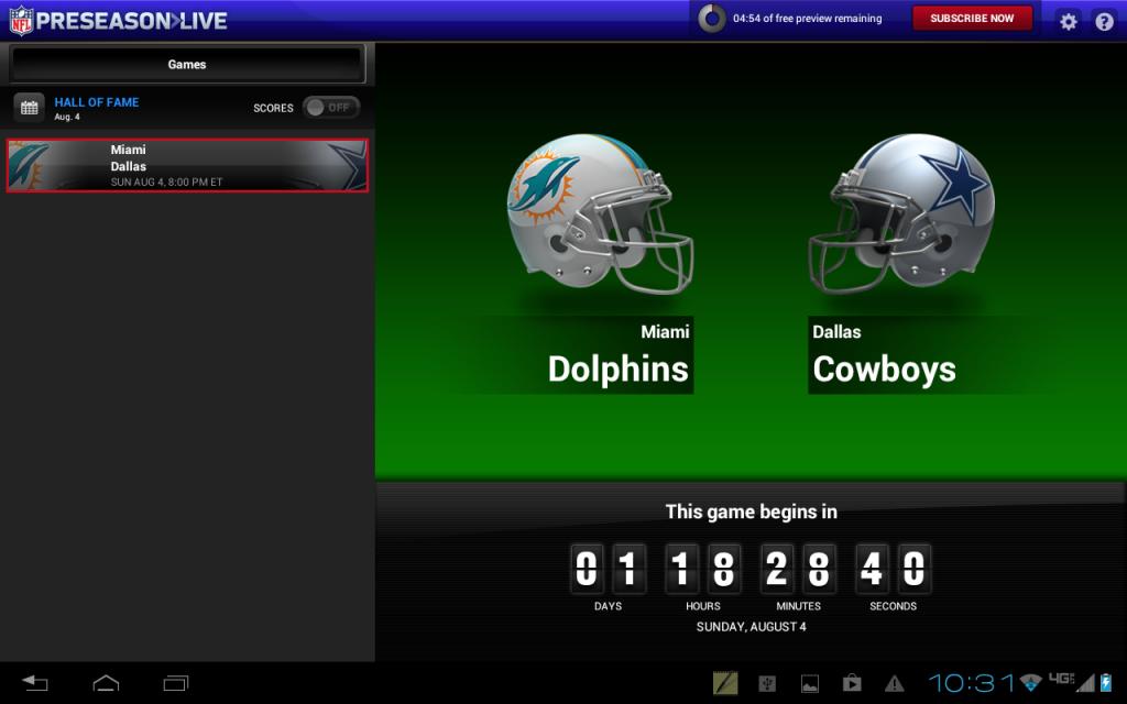 NFL Preseason Live for Tablets