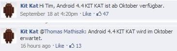 Android 4.4 KIT KAT ist ab Oktober verfügbar