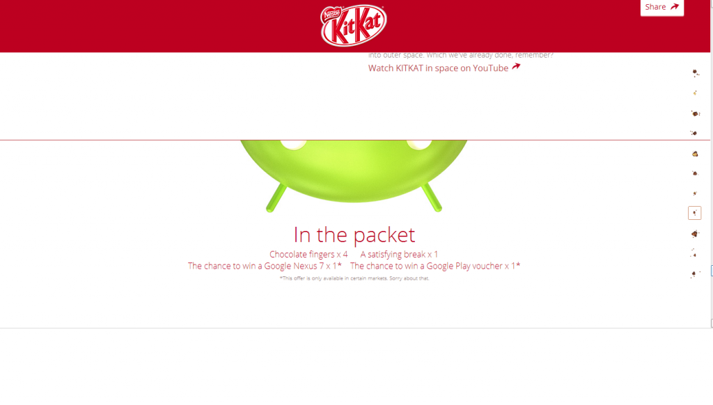 Android 4.4 KitKat - зеленый дроид с сайта батончика