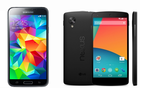 Samsung Galaxy S5 vs Nexus 5