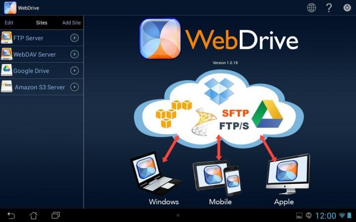 WebDrive – приложение, которое объединяет в себе файлы с облачных хранилищ и серверов