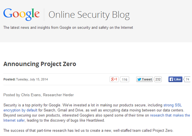Project Zero – безопасный Интернет от Google