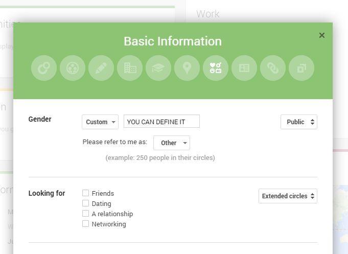 В Google Plus появились новые опии идентификации гендерной принадлежности